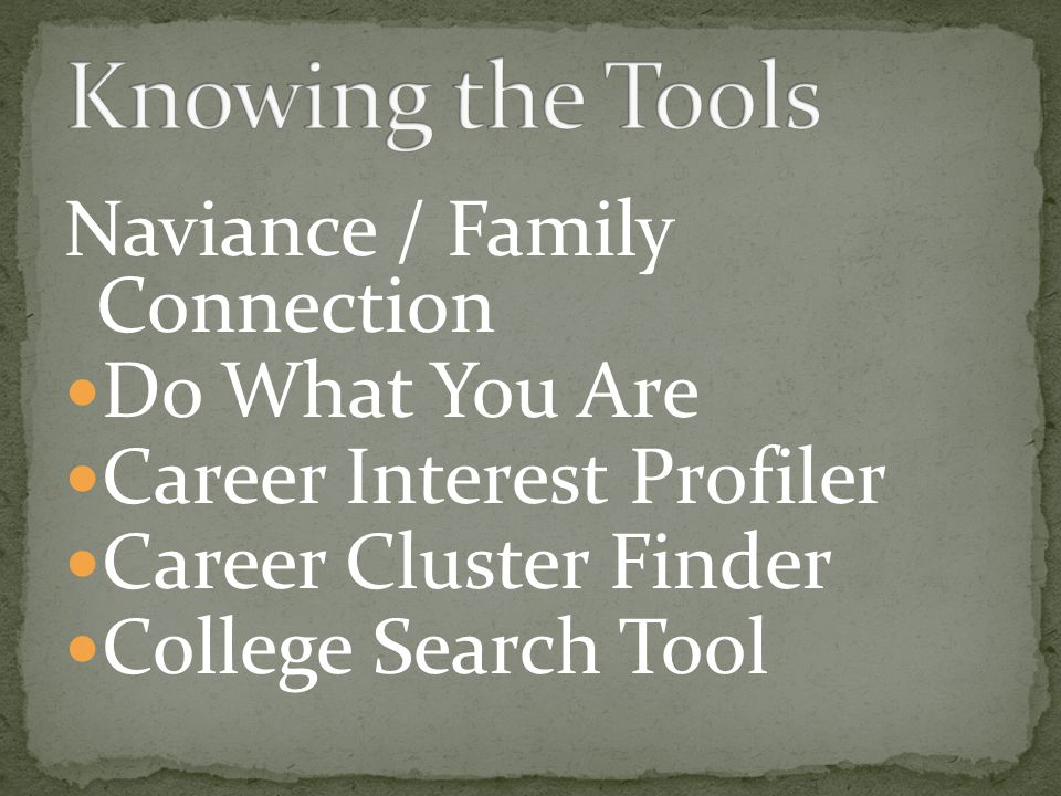 Naviance / Family Connection Do What You Are Career Interest Profiler Career Cluster Finder College Search Tool