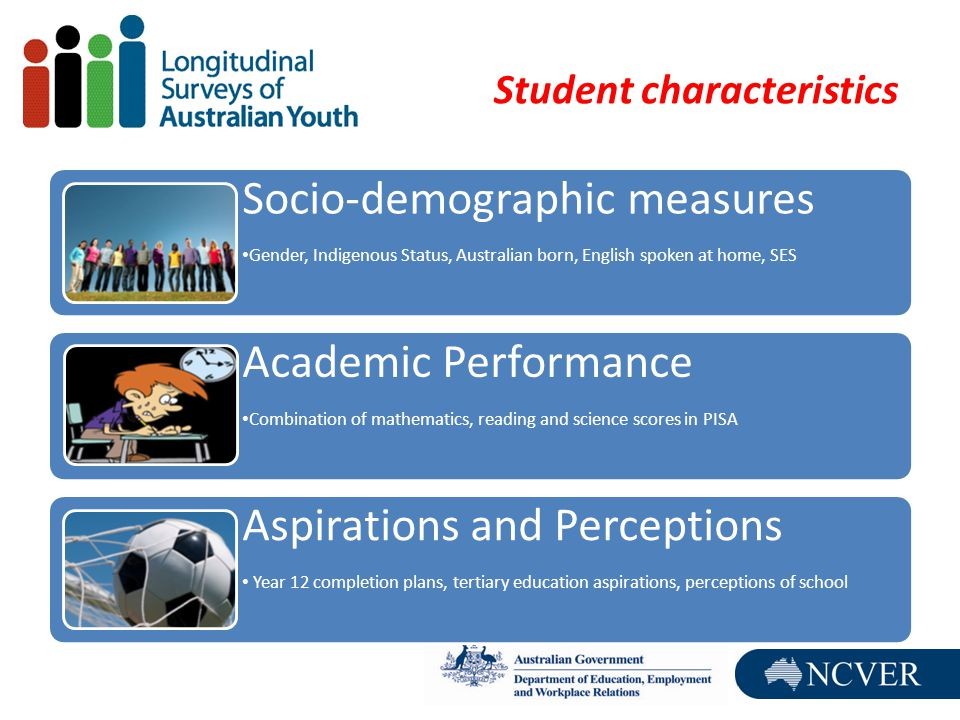 Student characteristics Socio-demographic measures Gender, Indigenous Status, Australian born, English spoken at home, SES Academic Performance Combination of mathematics, reading and science scores in PISA Aspirations and Perceptions Year 12 completion plans, tertiary education aspirations, perceptions of school