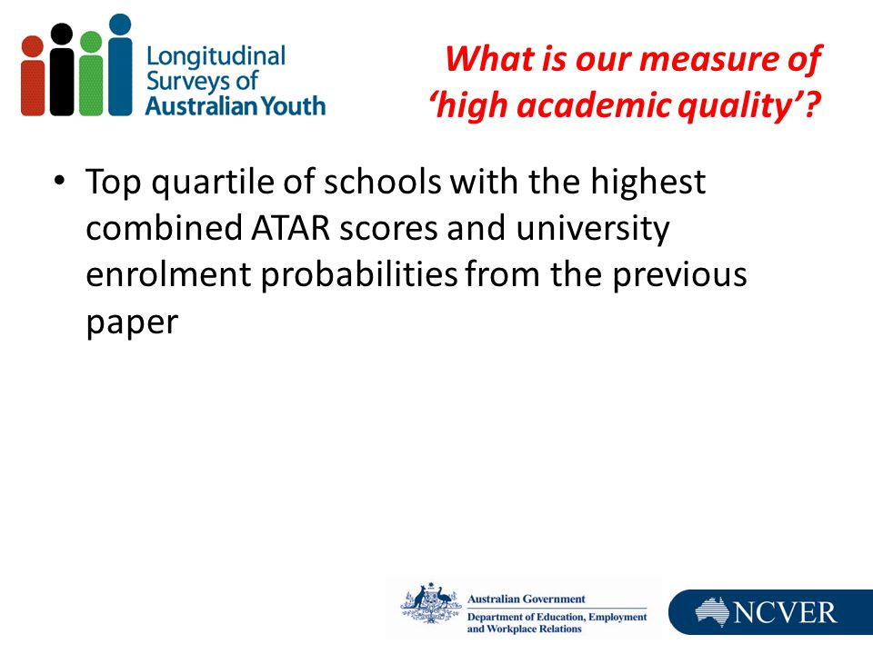 What is our measure of 'high academic quality'? Top quartile of schools with the highest combined ATAR scores and university enrolment probabilities f