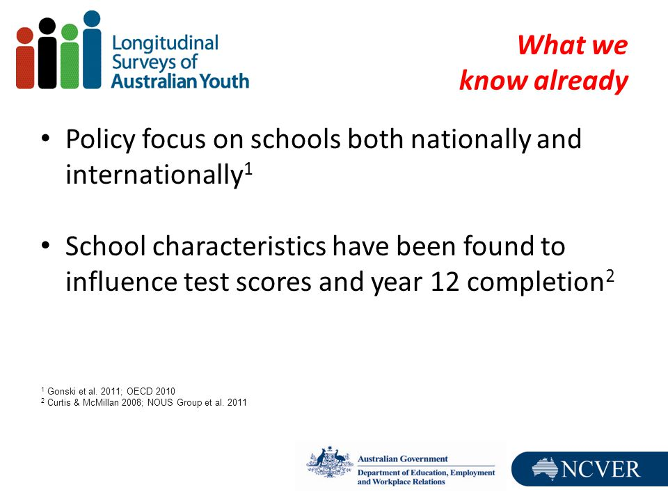 What we know already Policy focus on schools both nationally and internationally 1 School characteristics have been found to influence test scores and year 12 completion 2 1 Gonski et al.