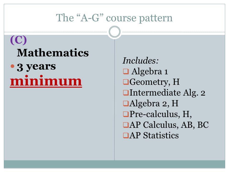 The A-G course pattern (C) Mathematics 3 years minimum Includes:  Algebra 1  Geometry, H  Intermediate Alg.