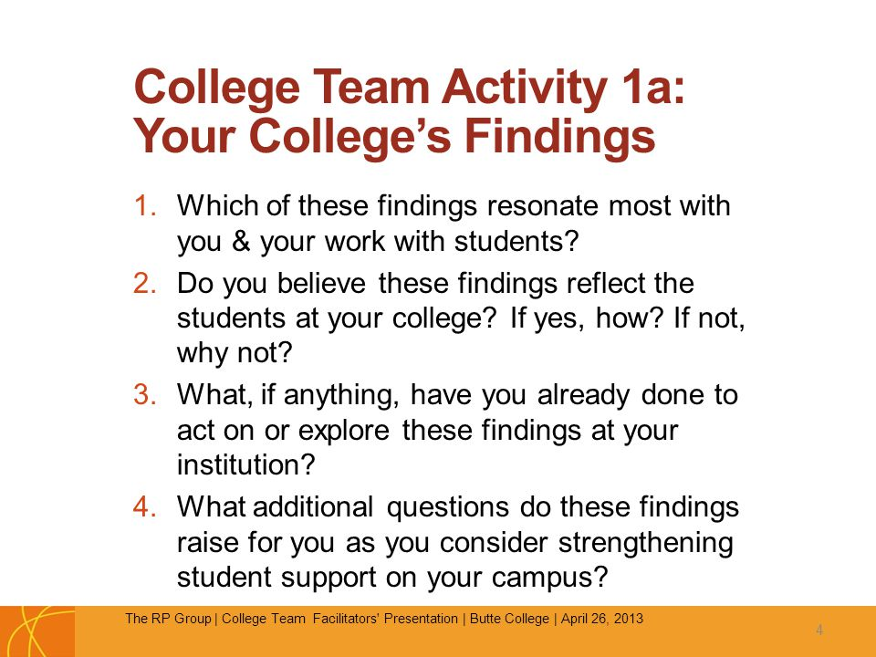 College Team Activity 1a: Your College's Findings 1.Which of these findings resonate most with you & your work with students.