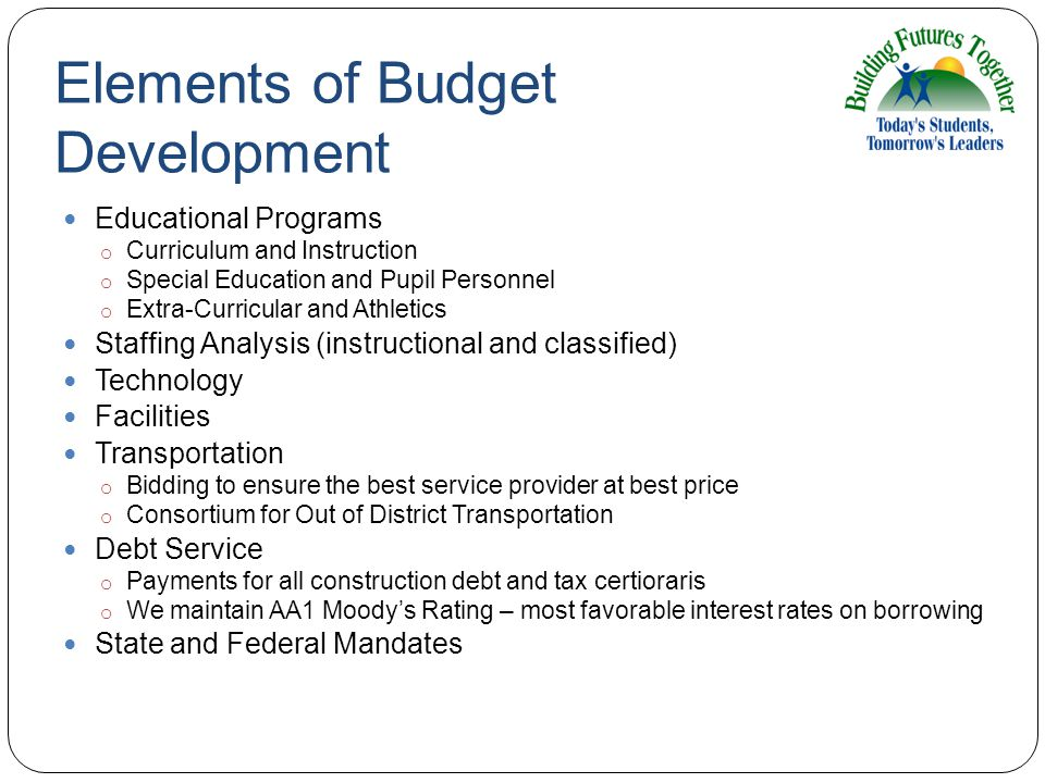 Elements of Budget Development Educational Programs o Curriculum and Instruction o Special Education and Pupil Personnel o Extra-Curricular and Athletics Staffing Analysis (instructional and classified) Technology Facilities Transportation o Bidding to ensure the best service provider at best price o Consortium for Out of District Transportation Debt Service o Payments for all construction debt and tax certioraris o We maintain AA1 Moody's Rating – most favorable interest rates on borrowing State and Federal Mandates