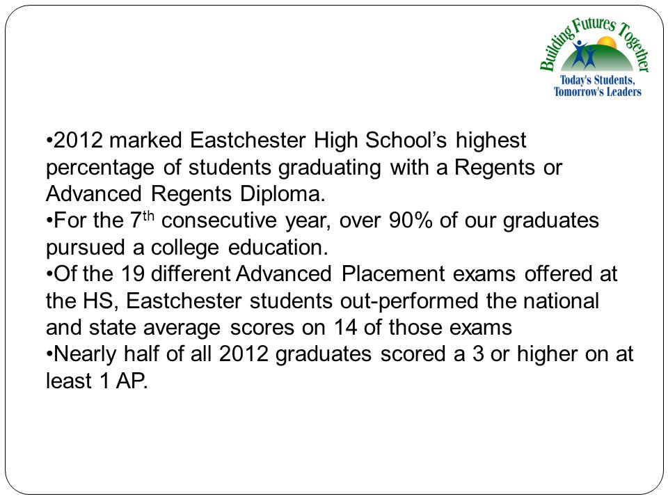 2012 marked Eastchester High School's highest percentage of students graduating with a Regents or Advanced Regents Diploma. For the 7 th consecutive y
