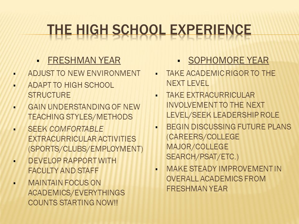  FRESHMAN YEAR  ADJUST TO NEW ENVIRONMENT  ADAPT TO HIGH SCHOOL STRUCTURE  GAIN UNDERSTANDING OF NEW TEACHING STYLES/METHODS  SEEK COMFORTABLE EXTRACURRICULAR ACTIVITIES (SPORTS/CLUBS/EMPLOYMENT)  DEVELOP RAPPORT WITH FACULTY AND STAFF  MAINTAIN FOCUS ON ACADEMICS/EVERYTHINGS COUNTS STARTING NOW!.