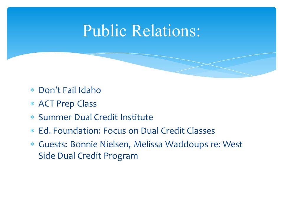  Don't Fail Idaho  ACT Prep Class  Summer Dual Credit Institute  Ed.
