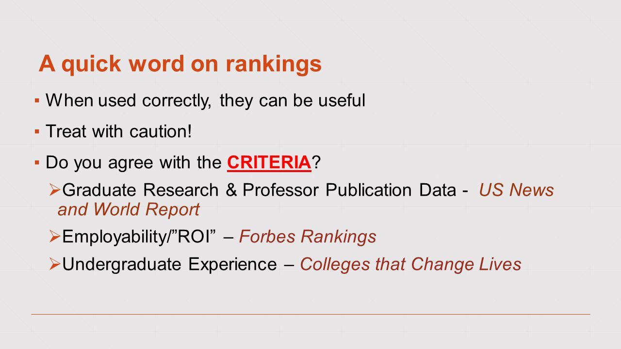 A quick word on rankings ▪When used correctly, they can be useful ▪Treat with caution.