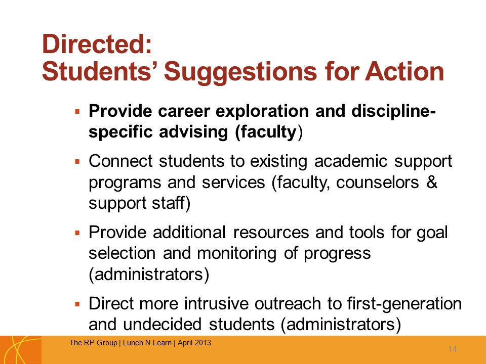 Directed: Students' Suggestions for Action  Provide career exploration and discipline- specific advising (faculty)  Connect students to existing academic support programs and services (faculty, counselors & support staff)  Provide additional resources and tools for goal selection and monitoring of progress (administrators)  Direct more intrusive outreach to first-generation and undecided students (administrators) 14 The RP Group | Lunch N Learn | April 2013
