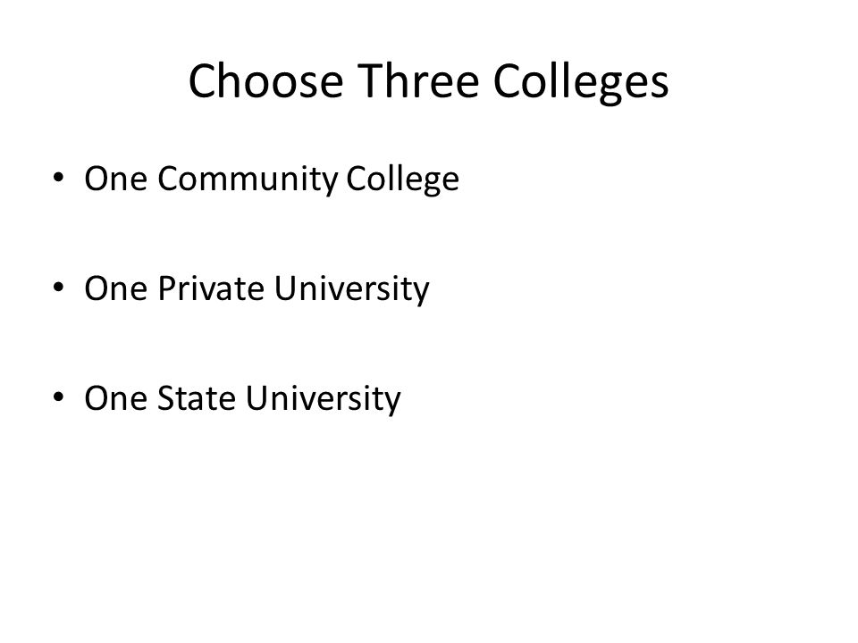 Choose Three Colleges One Community College One Private University One State University