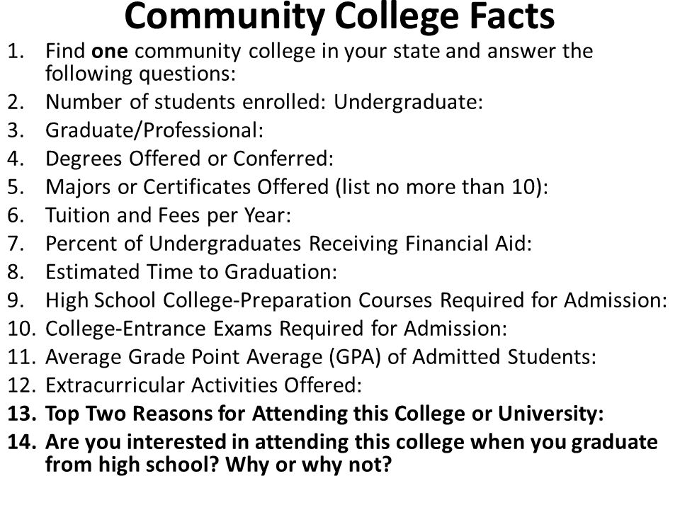 Community College Facts 1.Find one community college in your state and answer the following questions: 2.Number of students enrolled: Undergraduate: 3.Graduate/Professional: 4.Degrees Offered or Conferred: 5.Majors or Certificates Offered (list no more than 10): 6.Tuition and Fees per Year: 7.Percent of Undergraduates Receiving Financial Aid: 8.Estimated Time to Graduation: 9.High School College-Preparation Courses Required for Admission: 10.College-Entrance Exams Required for Admission: 11.Average Grade Point Average (GPA) of Admitted Students: 12.Extracurricular Activities Offered: 13.Top Two Reasons for Attending this College or University: 14.Are you interested in attending this college when you graduate from high school.