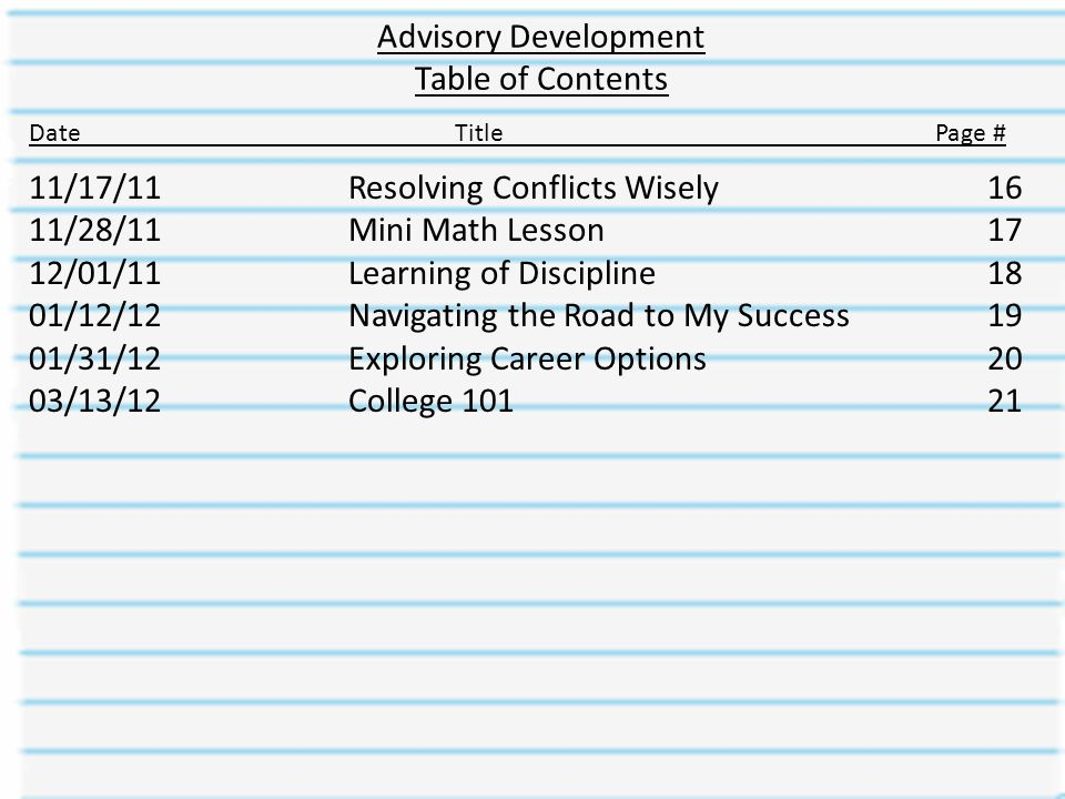 Advisory Development Table of Contents DateTitle Page # 11/17/11Resolving Conflicts Wisely16 11/28/11Mini Math Lesson17 12/01/11Learning of Discipline18 01/12/12Navigating the Road to My Success19 01/31/12Exploring Career Options20 03/13/12College 10121