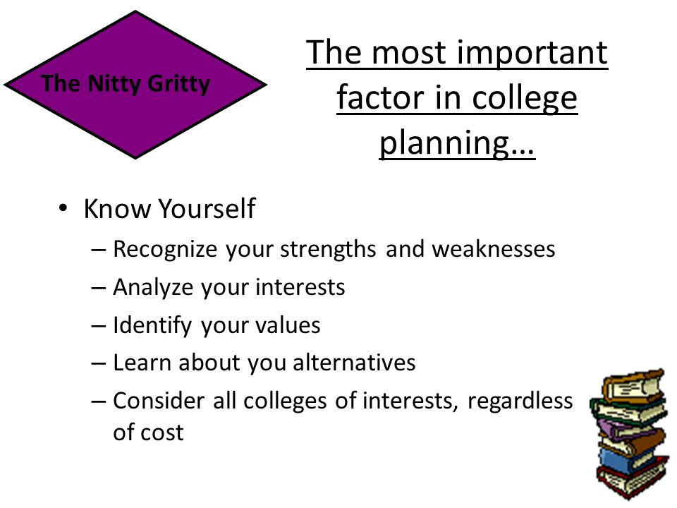 The most important factor in college planning… Know Yourself – Recognize your strengths and weaknesses – Analyze your interests – Identify your values – Learn about you alternatives – Consider all colleges of interests, regardless of cost The Nitty Gritty