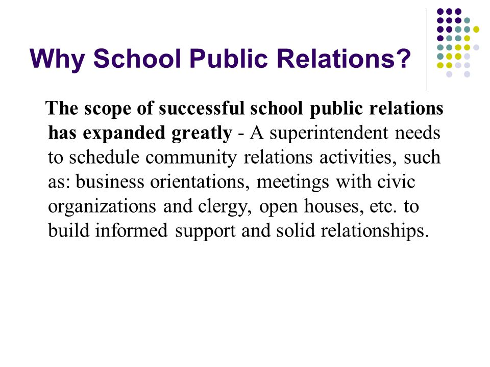 Why School Public Relations.