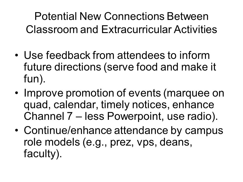 Potential New Connections Between Classroom and Extracurricular Activities Use feedback from attendees to inform future directions (serve food and make it fun).
