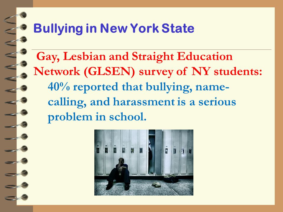 Bullying in New York State Gay, Lesbian and Straight Education Network (GLSEN) survey of NY students: 40% reported that bullying, name- calling, and h