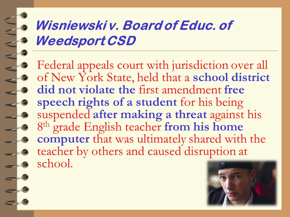 Wisniewski v. Board of Educ. of Weedsport CSD Federal appeals court with jurisdiction over all of New York State, held that a school district did not