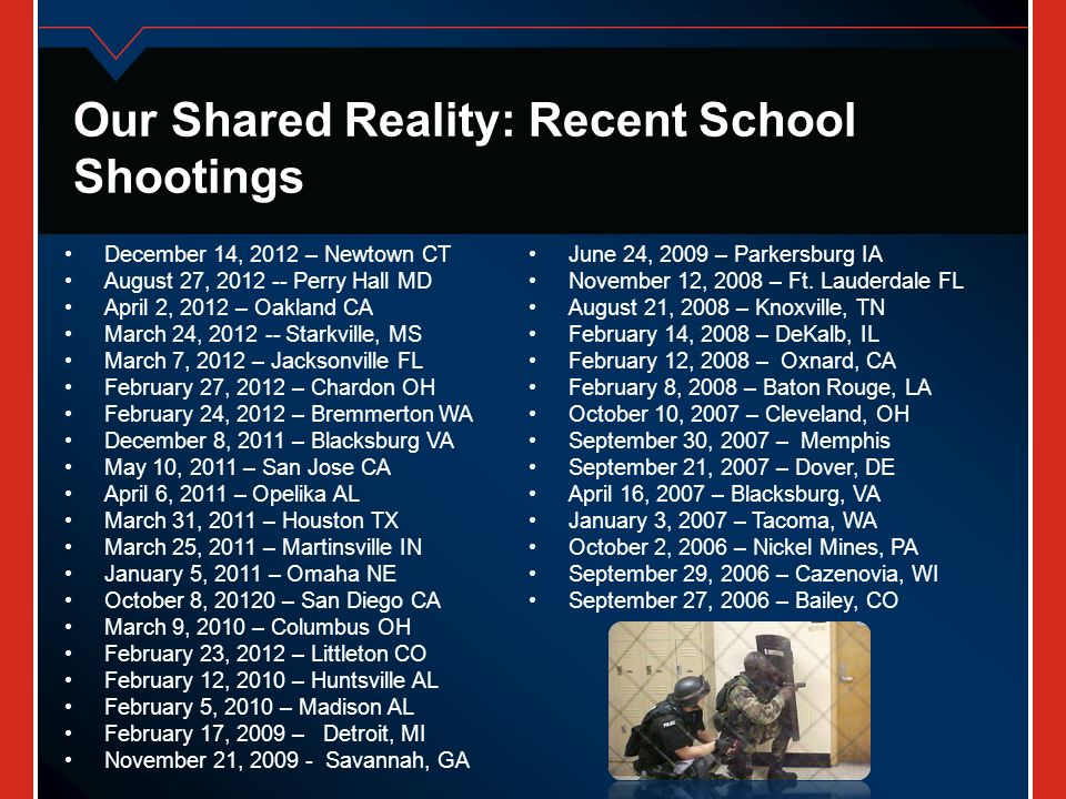 Our Shared Reality: Recent School Shootings December 14, 2012 – Newtown CT August 27, 2012 -- Perry Hall MD April 2, 2012 – Oakland CA March 24, 2012