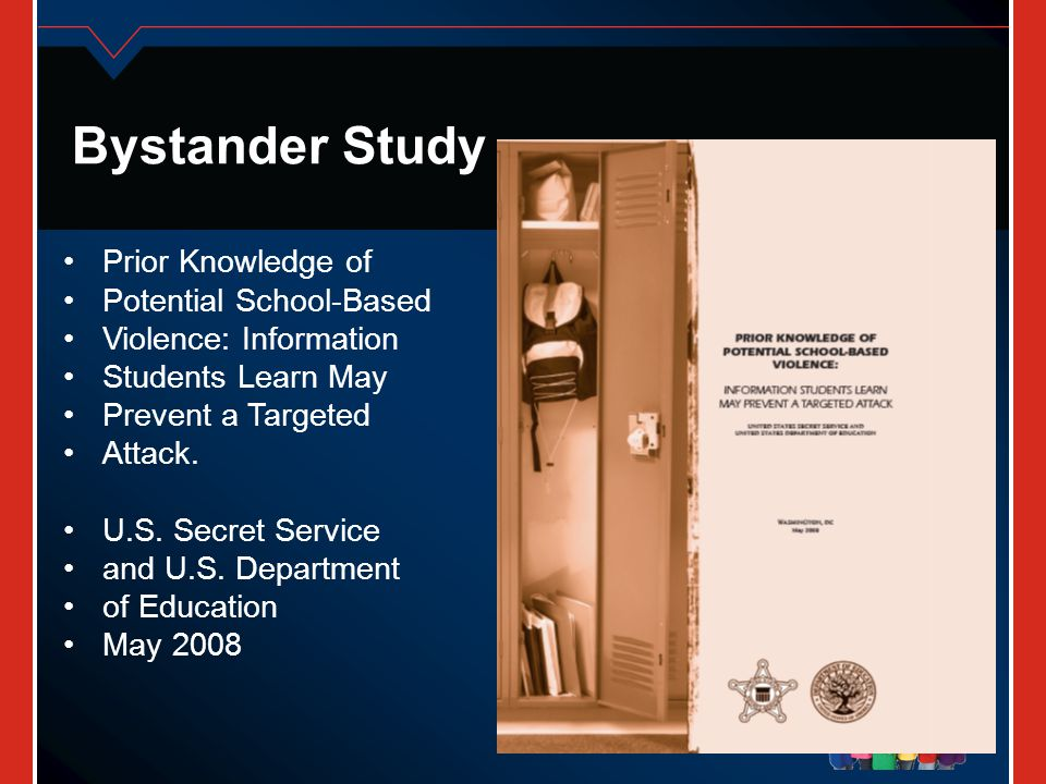 Bystander Study Prior Knowledge of Potential School-Based Violence: Information Students Learn May Prevent a Targeted Attack. U.S. Secret Service and