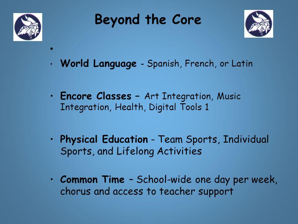 World Language - Spanish, French, or Latin Encore Classes – Art Integration, Music Integration, Health, Digital Tools 1 Physical Education - Team Spor