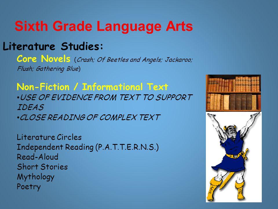 Sixth Grade Language Arts Literature Studies: Core Novels (Crash; Of Beetles and Angels; Jackaroo; Flush; Gathering Blue) Non-Fiction / Informational