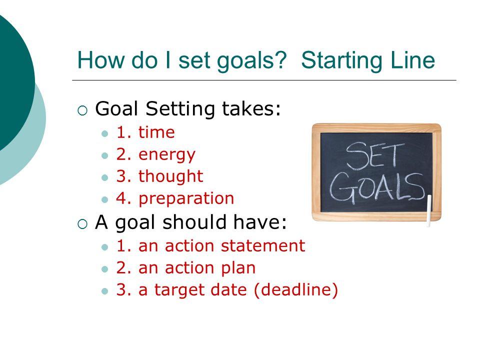 How do I set goals. Starting Line  Goal Setting takes: 1.