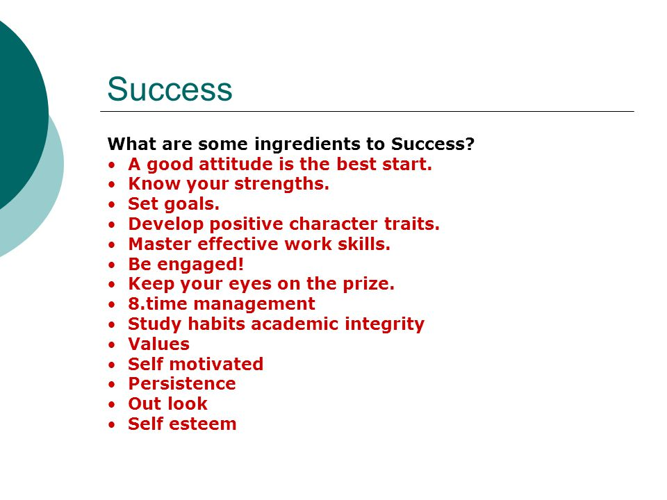What are some obstacles to Success.