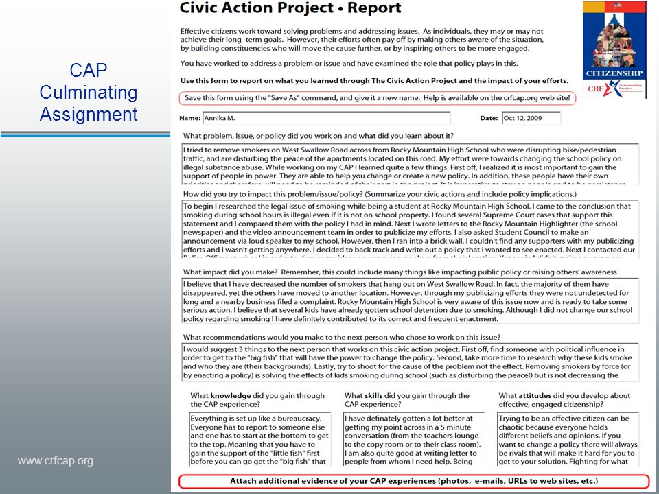www.crfcap.org CAP Culminating Assignment
