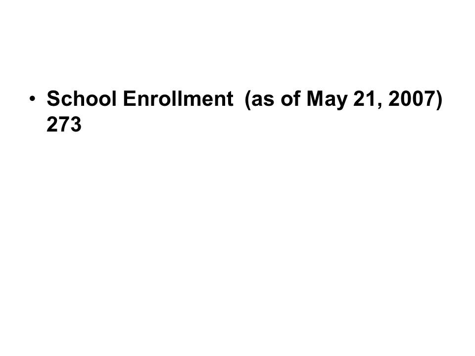 School Enrollment (as of May 21, 2007) 273