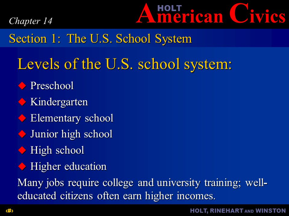 A merican C ivicsHOLT HOLT, RINEHART AND WINSTON5 Chapter 14 Levels of the U.S.