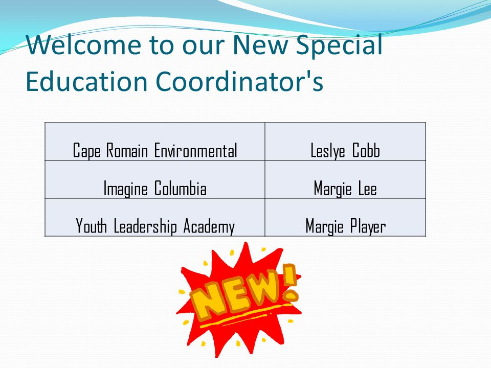 New Special Ed Coordinators training: October 12, 2012 @ 9:30 am Thursday, November 01, 2012 @ 2:30 pm: Web meeting: Table 1 & 3 (December 1Count) Tuesday, November 13, 2012 @ 2:30 pm : Monthly Coordinators' Meeting Dates to Remember: