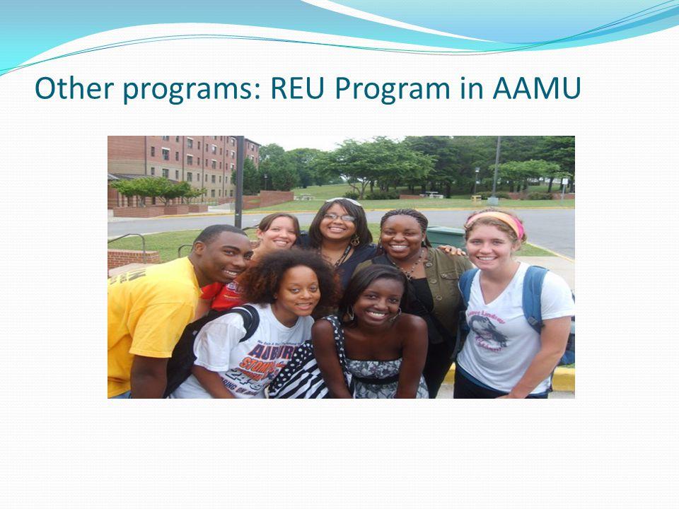 Other programs: REU Program in AAMU