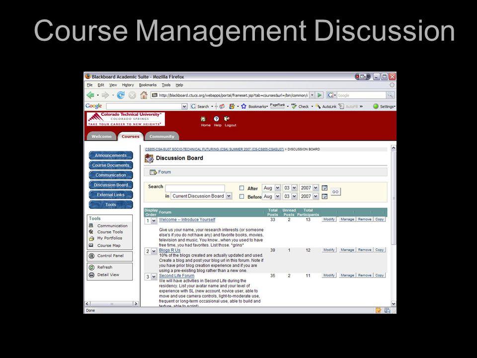 Course Management Discussion