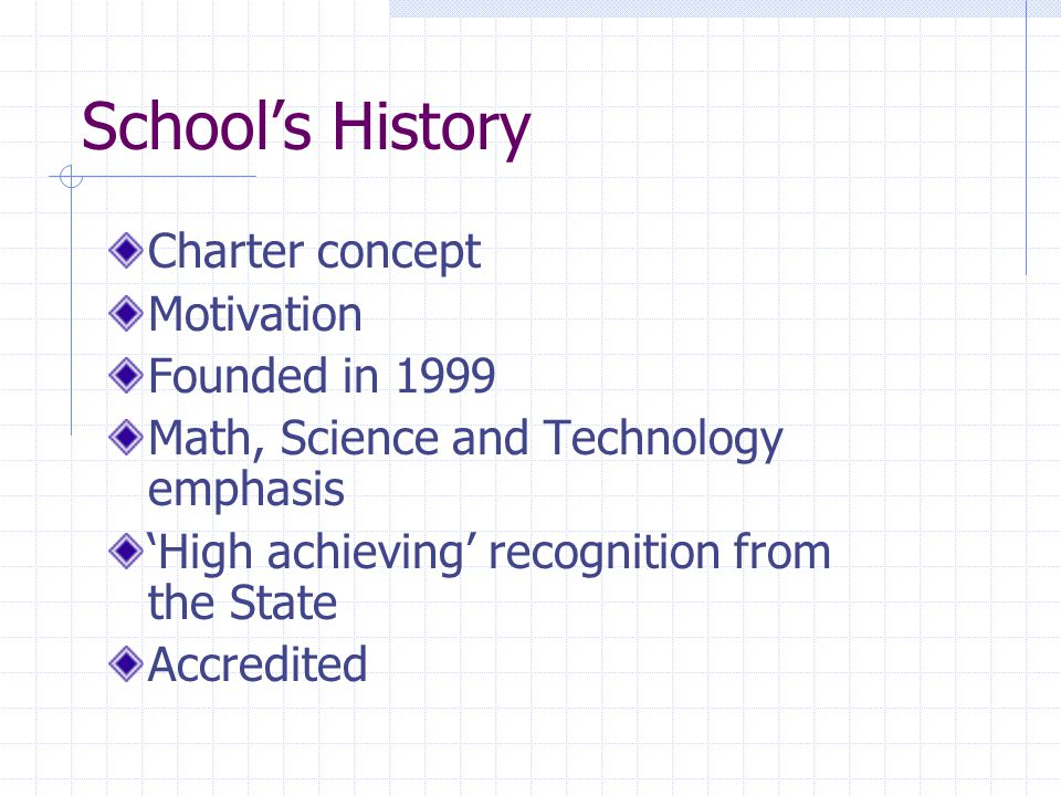 School's History Charter concept Motivation Founded in 1999 Math, Science and Technology emphasis 'High achieving' recognition from the State Accredited