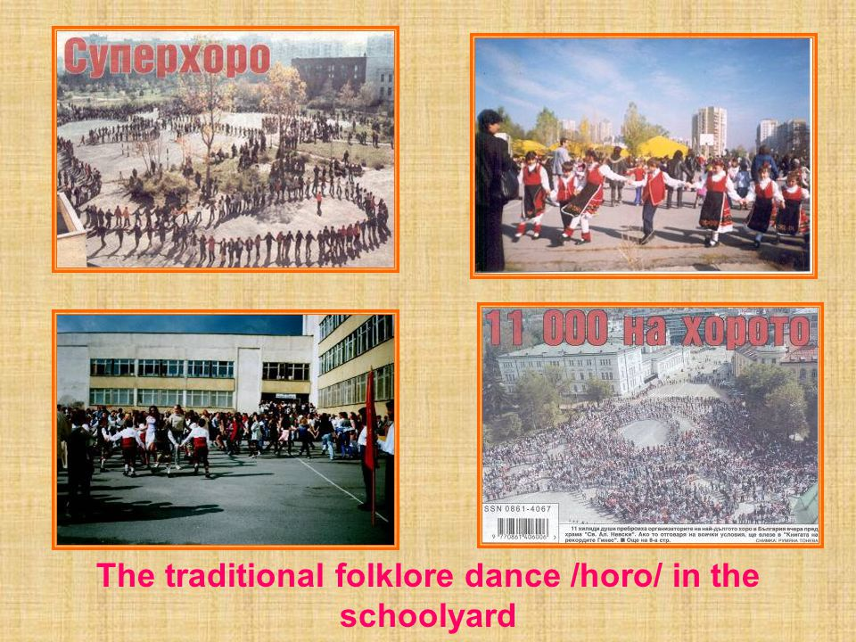 The traditional folklore dance /horo/ in the schoolyard realized as an attempt for a Guinness world record
