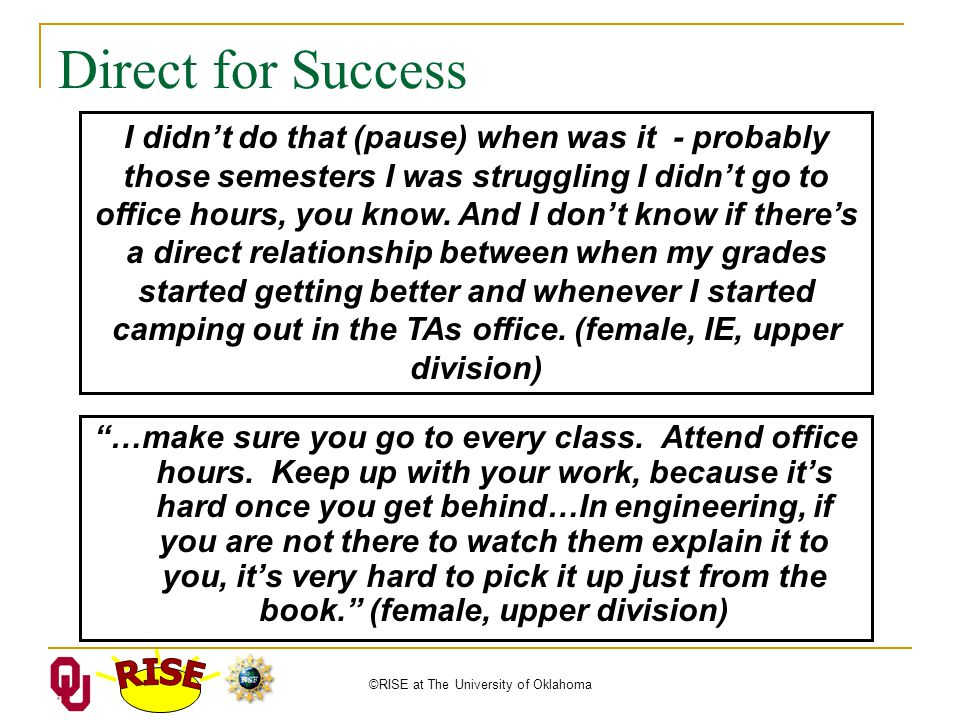 ©RISE at The University of Oklahoma Direct for Success …make sure you go to every class.