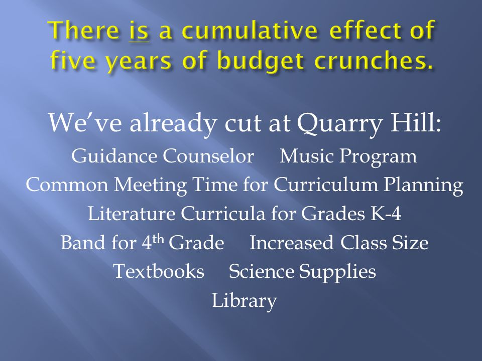 We've already cut at Quarry Hill: Guidance Counselor Music Program Common Meeting Time for Curriculum Planning Literature Curricula for Grades K-4 Band for 4 th Grade Increased Class Size Textbooks Science Supplies Library