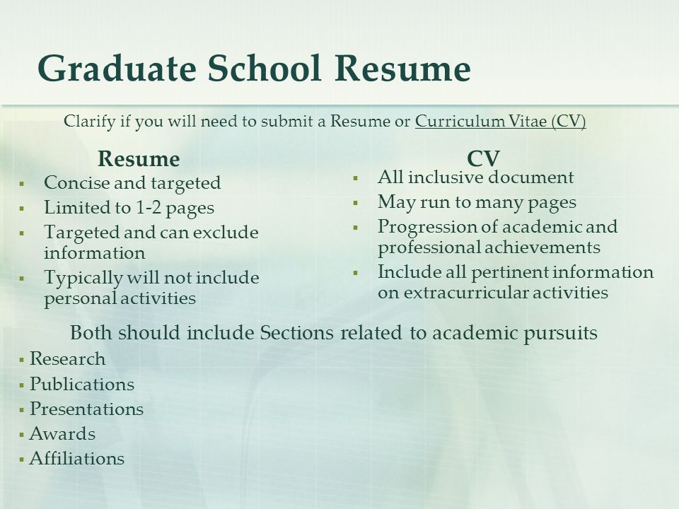 Graduate School Resume  Concise and targeted  Limited to 1-2 pages  Targeted and can exclude information  Typically will not include personal activities  All inclusive document  May run to many pages  Progression of academic and professional achievements  Include all pertinent information on extracurricular activities Clarify if you will need to submit a Resume or Curriculum Vitae (CV) ResumeCV Both should include Sections related to academic pursuits  Research  Publications  Presentations  Awards  Affiliations