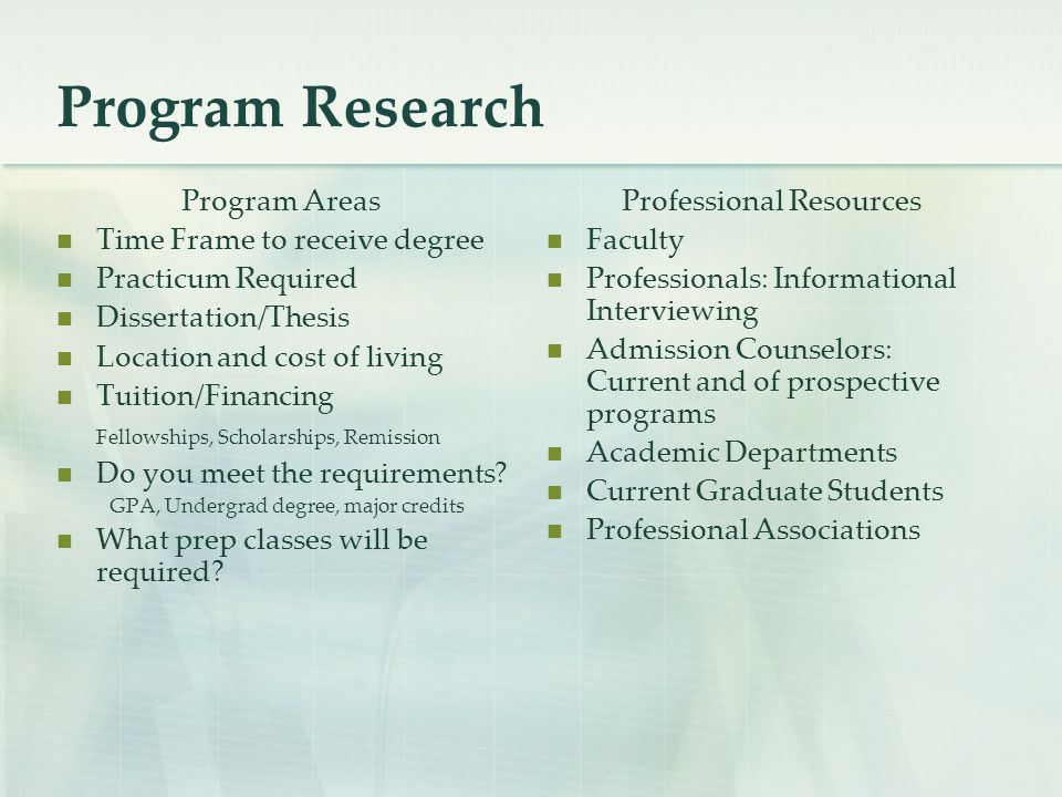 Program Research Program Areas Time Frame to receive degree Practicum Required Dissertation/Thesis Location and cost of living Tuition/Financing Fello