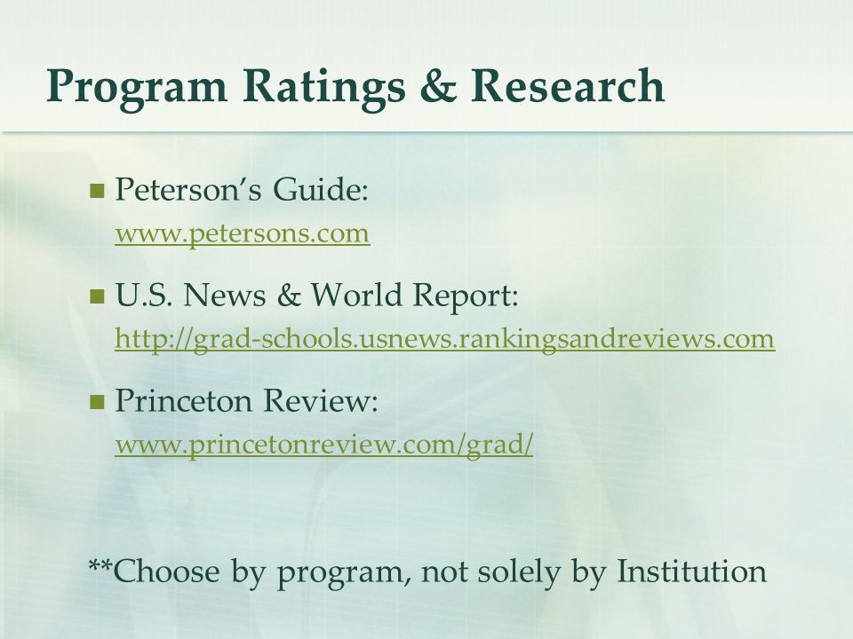 Program Ratings & Research Peterson's Guide: www.petersons.com U.S.