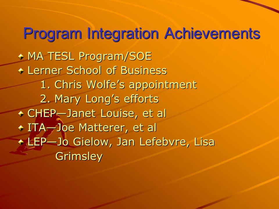 Program Integration Achievements Program Integration Achievements MA TESL Program/SOE Lerner School of Business 1.