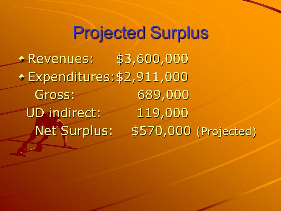 Projected Surplus Revenues: $3,600,000 Expenditures:$2,911,000 Gross: 689,000 Gross: 689,000 UD indirect: 119,000 UD indirect: 119,000 Net Surplus: $570,000 (Projected) Net Surplus: $570,000 (Projected)