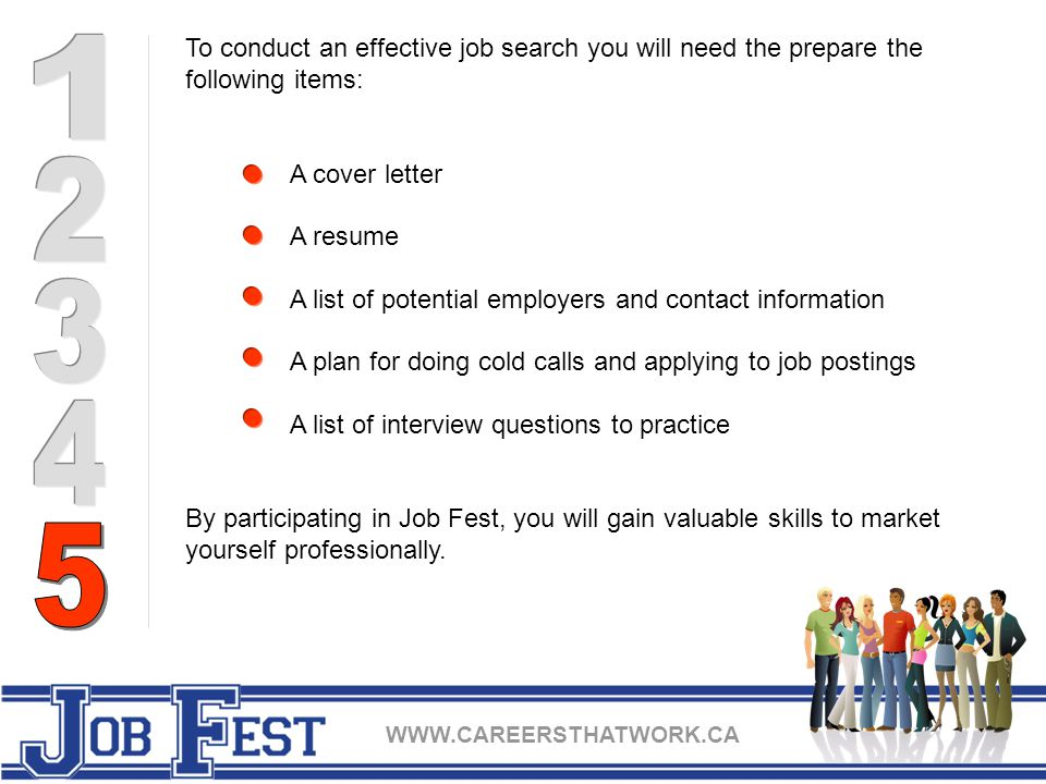 To conduct an effective job search you will need the prepare the following items: A cover letter A resume A list of potential employers and contact information A plan for doing cold calls and applying to job postings A list of interview questions to practice By participating in Job Fest, you will gain valuable skills to market yourself professionally.