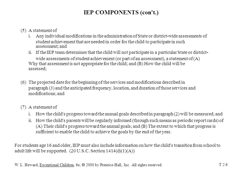 IEP COMPONENTS (con't.) (5)A statement of i. Any individual modifications in the administration of State or district-wide assessments of student achie