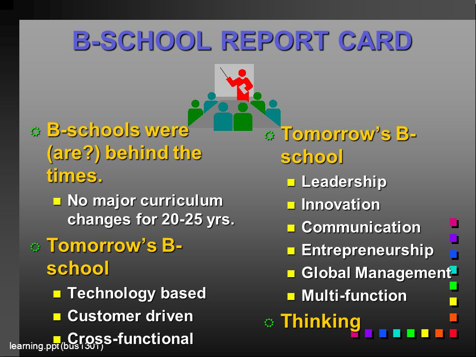 learning.ppt (bus1301) B-SCHOOL REPORT CARD R B-schools were (are ) behind the times.