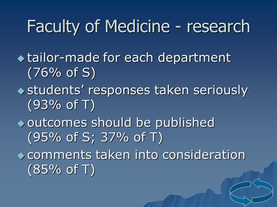 Faculty of Medicine - research  tailor-made for each department (76% of S)  students' responses taken seriously (93% of T)  outcomes should be published (95% of S; 37% of T)  comments taken into consideration (85% of T)