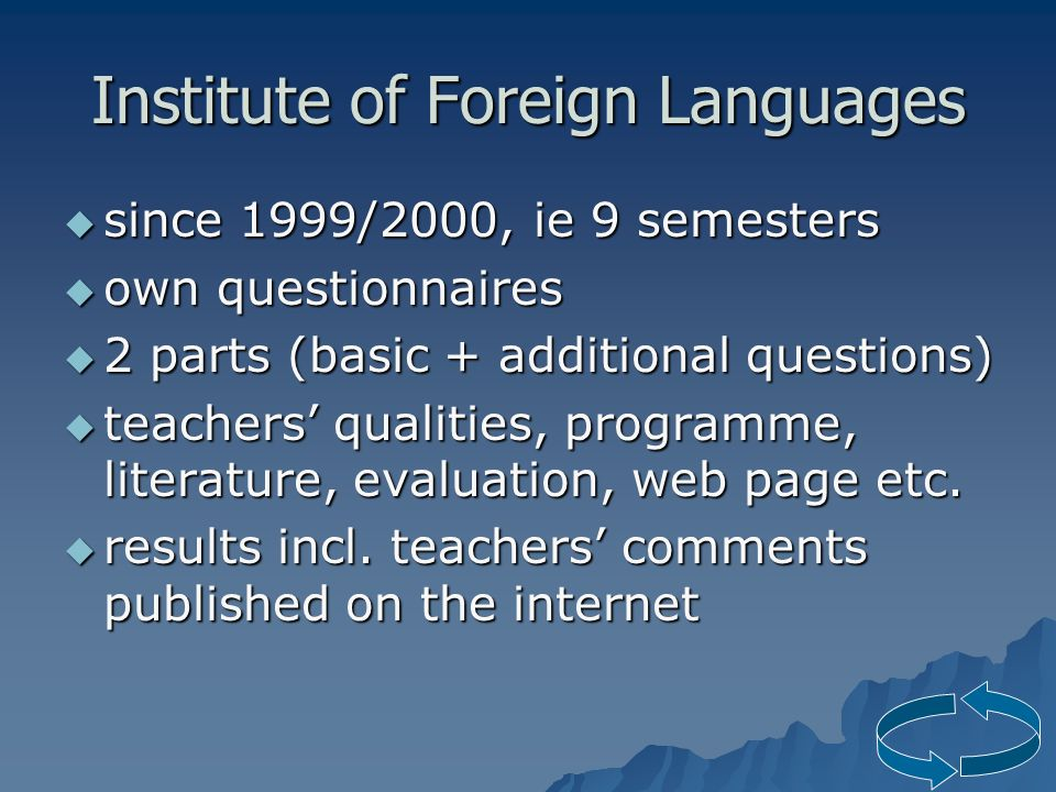 Institute of Foreign Languages  since 1999/2000, ie 9 semesters  own questionnaires  2 parts (basic + additional questions)  teachers' qualities, programme, literature, evaluation, web page etc.