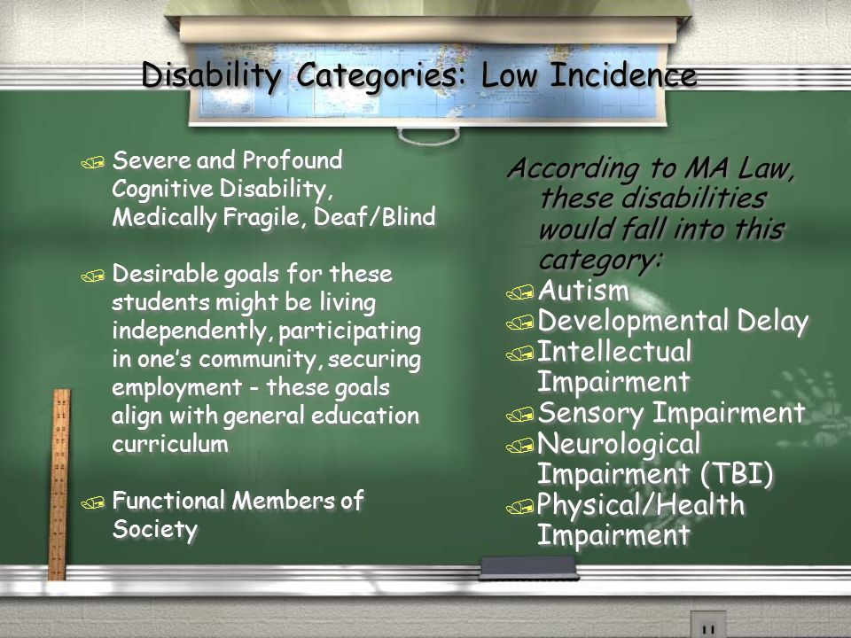 Disability Categories: Low Incidence / Severe and Profound Cognitive Disability, Medically Fragile, Deaf/Blind / Desirable goals for these students might be living independently, participating in one's community, securing employment - these goals align with general education curriculum / Functional Members of Society / Severe and Profound Cognitive Disability, Medically Fragile, Deaf/Blind / Desirable goals for these students might be living independently, participating in one's community, securing employment - these goals align with general education curriculum / Functional Members of Society According to MA Law, these disabilities would fall into this category: / Autism / Developmental Delay / Intellectual Impairment / Sensory Impairment / Neurological Impairment (TBI) / Physical/Health Impairment