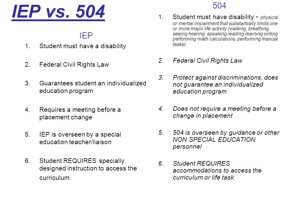 IEP vs. 504 IEP 1.Student must have a disability 2.Federal Civil Rights Law 3.Guarantees student an individualized education program 4.Requires a meet