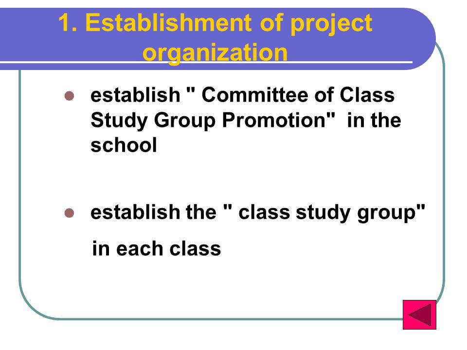 1. Establishment of project organization establish