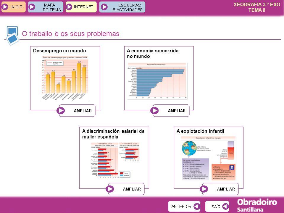XEOGRAFÍA 3.º ESO TEMA 8 O traballo e os seus problemas Desemprego no mundoA economía somerxida no mundo A discriminación salarial da muller española